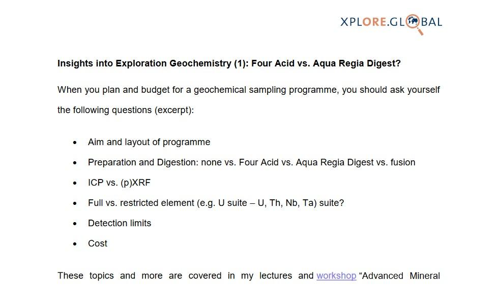 Insights into Exploration Geochemistry