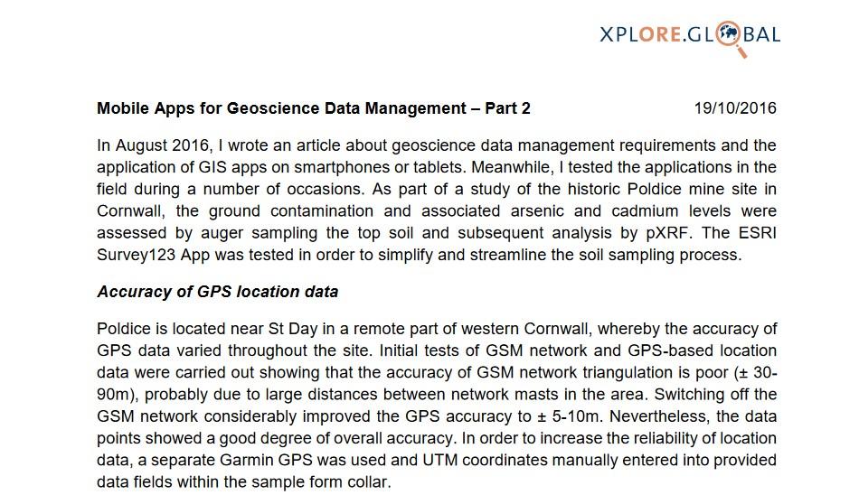 Mobile apps for Geological Data Management