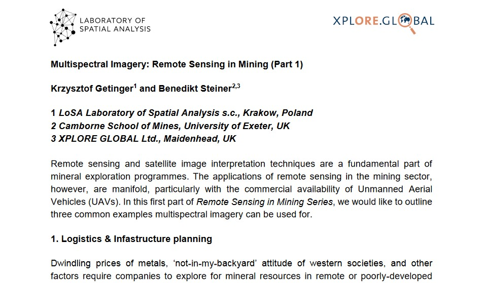 Multispectral Imagery Remote Sensing in Mining (Part 1)